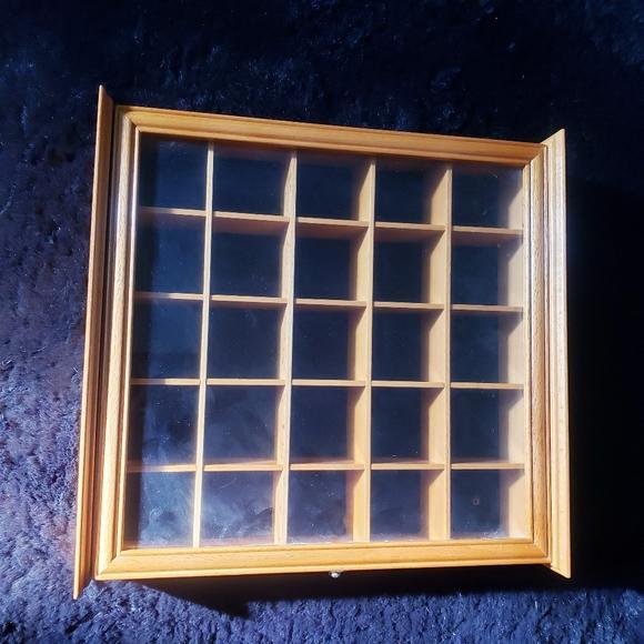 Vintage wooden glass door display shelf